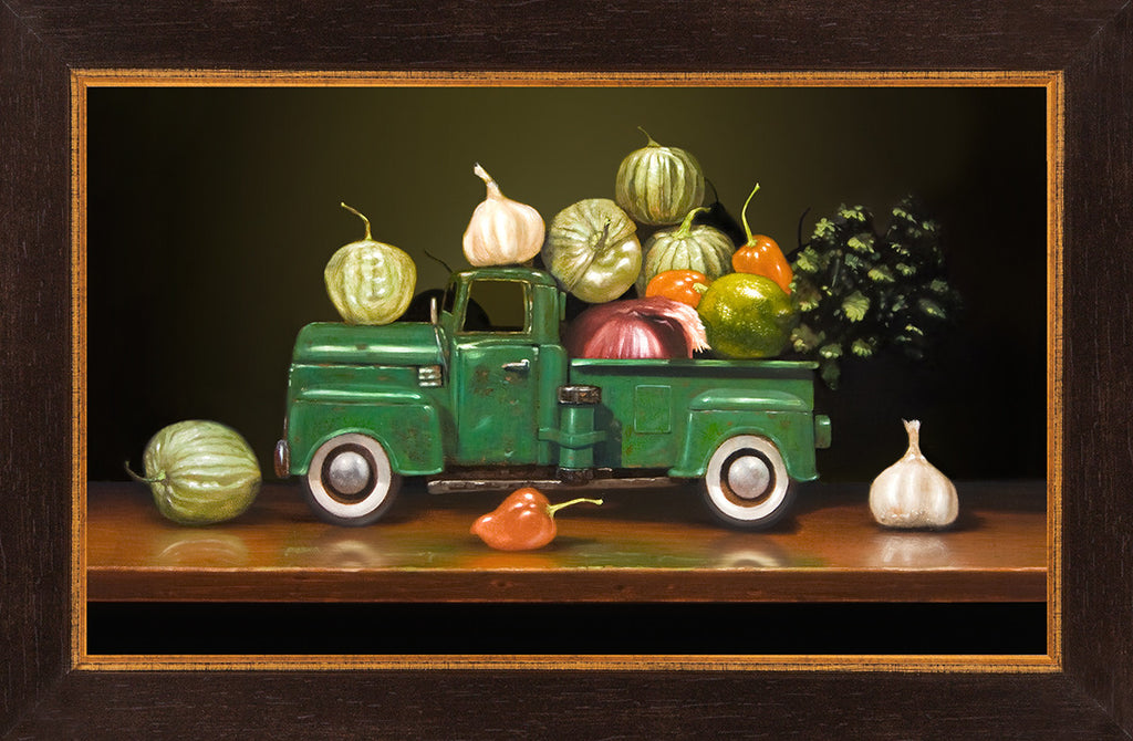 Salsa Verde, spicy green chili ingredients, pickup truck, Richard Hall, framed canvas giclee print