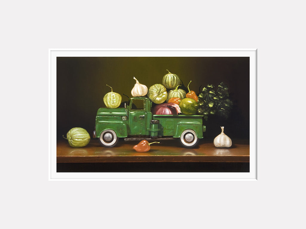 Salsa Verde, spicy green chili ingredients, pickup truck, Richard Hall, matted print
