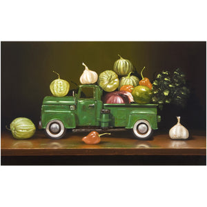 Salsa Verde, spicy green chili ingredients, pickup truck, Richard Hall, canvas giclee print