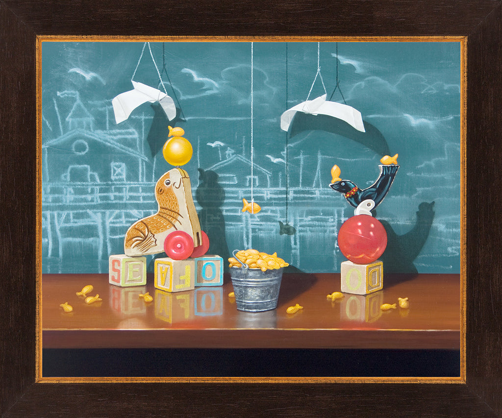 Seafood Buffet, Richard Hall, framed canvas giclee print, seal toys, fishermans wharf, chalkboard, origami