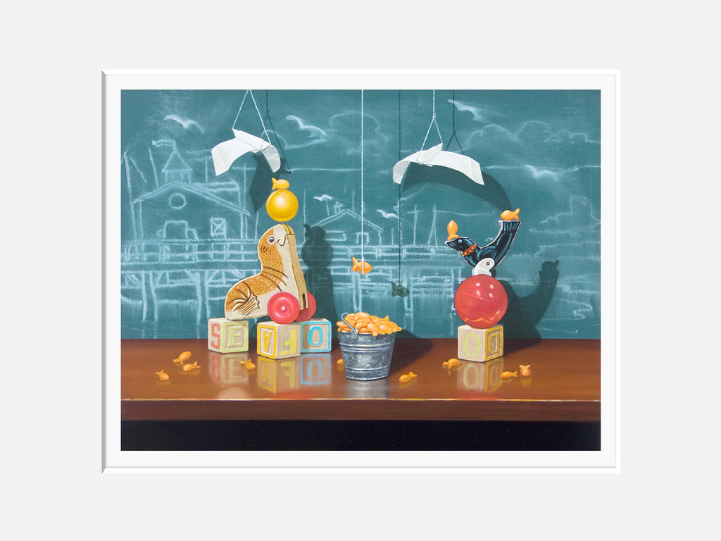 Seafood Buffet, Richard Hall, matted giclee print, seal toys, fishermans wharf, chalkboard, origami