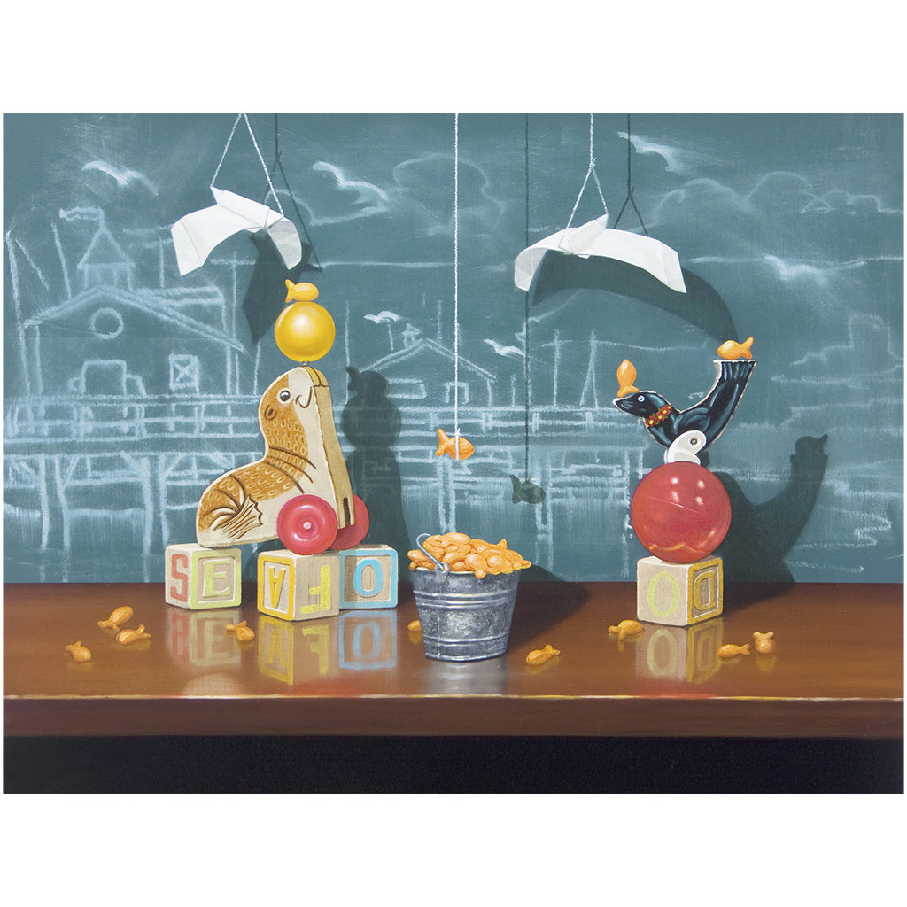 Seafood Buffet, Richard Hall, giclee print, seal toys, fishermans wharf, chalkboard, origami