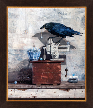 Secret Admirer, raven's gifts for sweetheart, kisses, Richard Hall, framed canvas giclee print