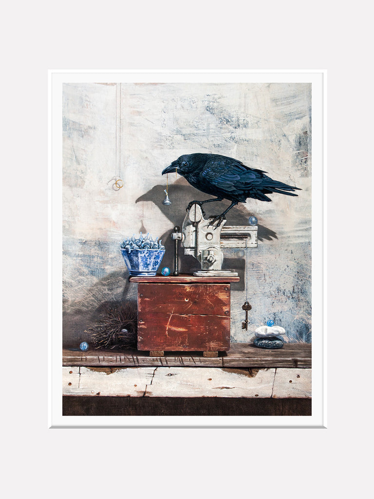 Secret Admirer, raven's gifts for sweetheart, kisses, Richard Hall, matted print