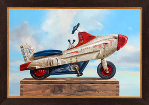 Sky Rider, Supersonic Pedal Car, moon, sky, clouds, Richard Hall, framed canvas giclee print