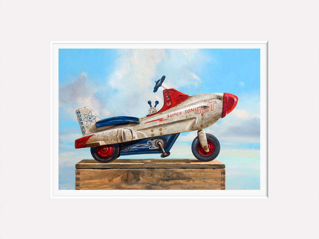 Sky Rider, Supersonic Pedal Car, moon, sky, clouds, Richard Hall, Matted giclee print