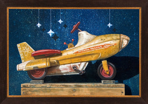 Star chaser, retro pedal car, atomic missile, starry sky, Richard Hall, framed canvas giclee print