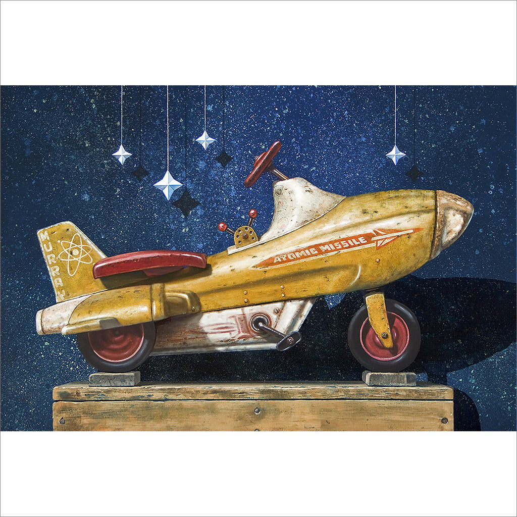 Star chaser, retro pedal car, atomic missile, starry sky, Richard Hall, giclee print
