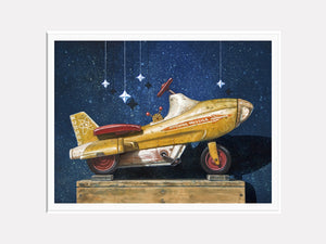 Star chaser, retro pedal car, atomic missile, starry sky, Richard Hall matted giclee print