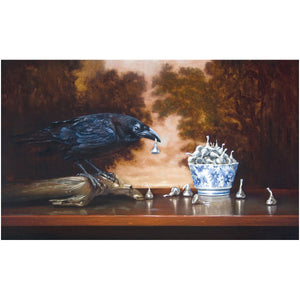 Stealing Kisses, raven stealing chocolate, Richard Hall, giclee print