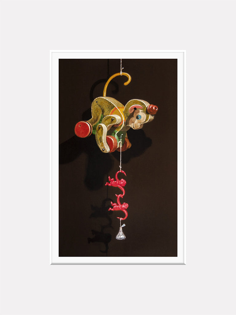 Stealing a Kiss, Monkey toys steal kiss, Richard Hall, matted giclee print