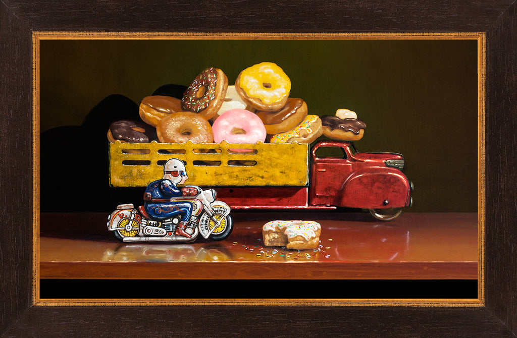 Stopped for Donuts, motorcycle cop stops donut truck, Richard Hall, framed canvas giclee print