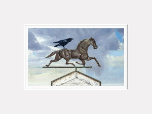 Storm Rider, horse weathervane with raven rider, Richard Hall, matted print