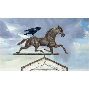 Storm Rider, horse weathervane with raven rider, Richard Hall, giclee print