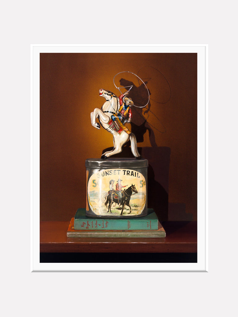 Sunset Trail, lone ranger toy, cigar tin, Richard Hall, matted print