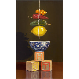 Hot and Sour soup, peppers, lemons, blocks, Richard Hall, girl print