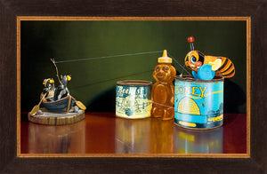 The Sweetest Catch, fishing honey bears, buzzy bee, Richard Hall, framed canvas giclee print