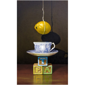 Tea with Lemon, teacup, hanging lemon, T-E-A blocks, Richard Hall, print