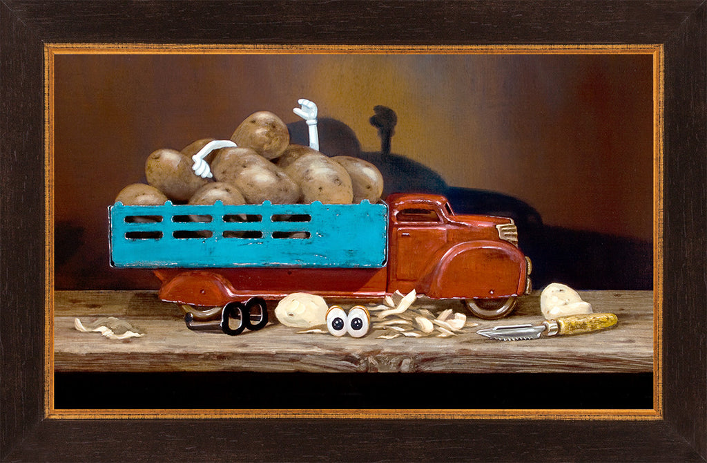 The Chips Are Down, toy truck full of potatoes, Mr potato head toy, Richard Hall, framed canvas giclee print