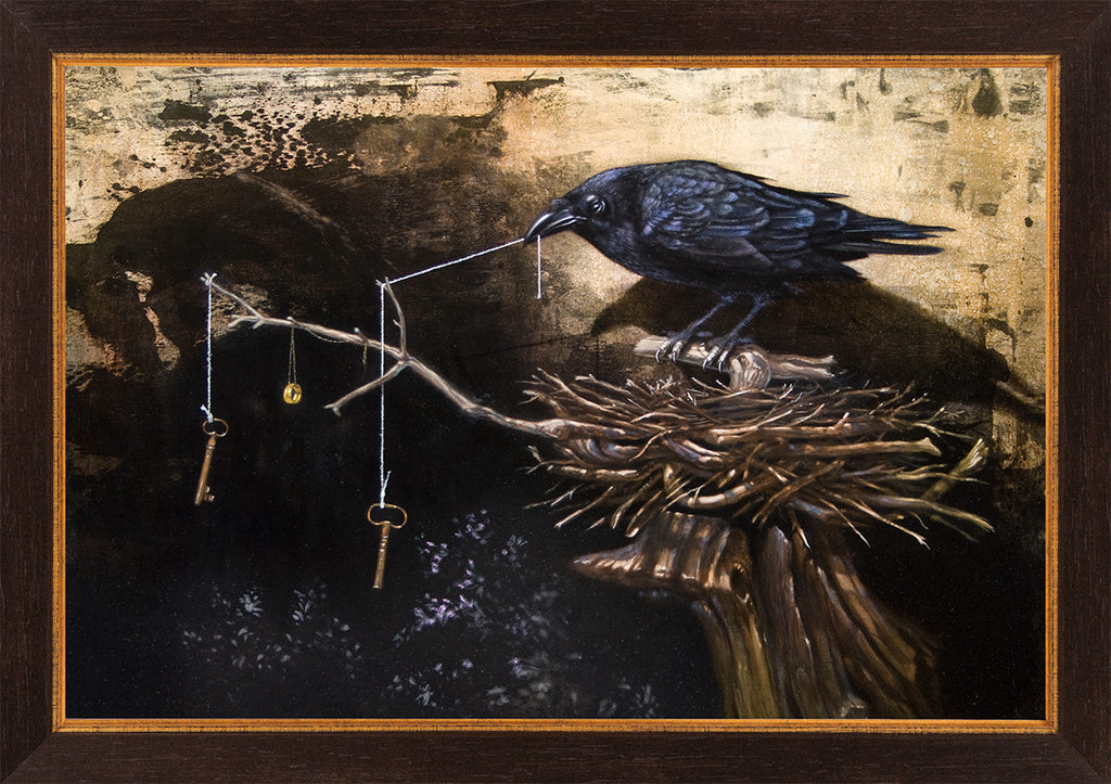 The Collector, Raven's collection, mythology, Richard Hall, framed canvas giclee print