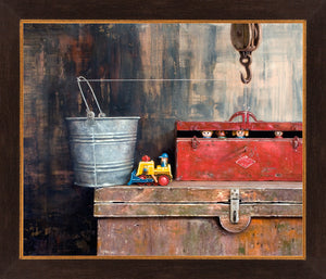 The Great Escape, toys escape from toolbox, framed canvas giclee print