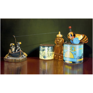 The Sweetest Catch, fishing honey bears, buzzy bee, Richard Hall, print
