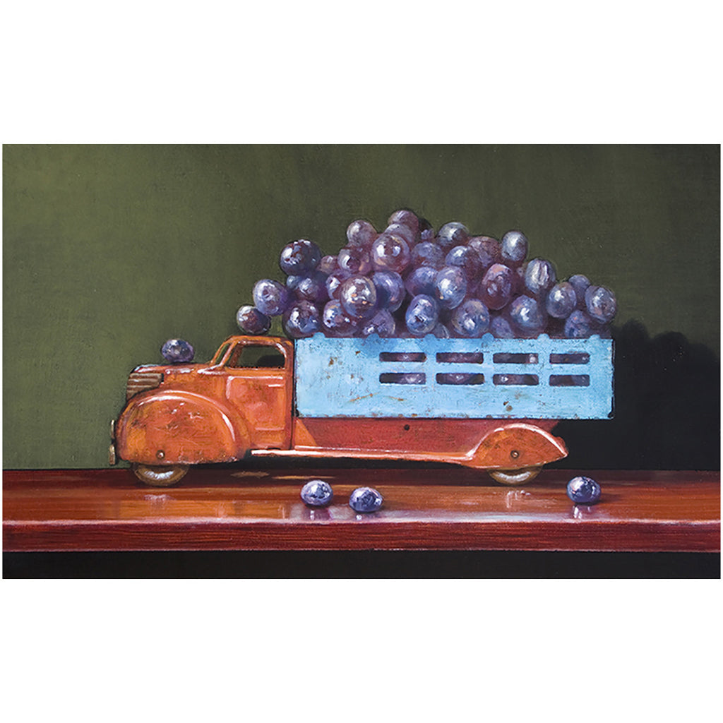 Vintage Red, grapes, truck, red wine, Richard Hall, giclee print