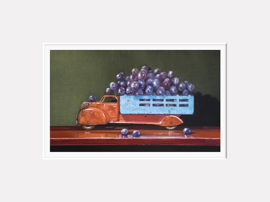 Vintage Red, grapes, truck, red wine, Richard Hall, matted print