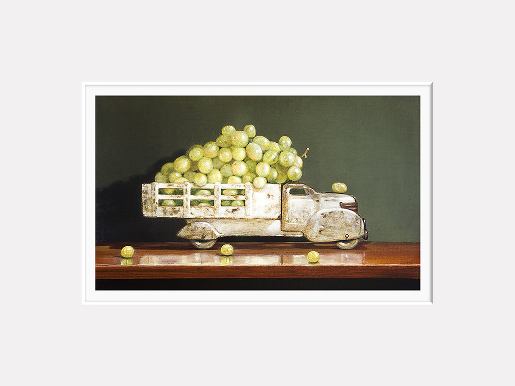 Vintage White, grapes, truck, white wine, Richard Hall, matted print