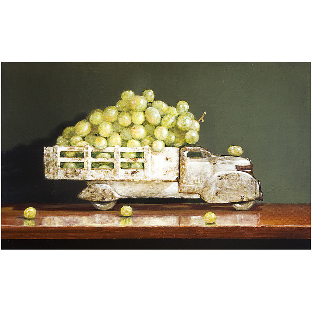 Vintage White, grapes, truck, white wine, Richard Hall, giclee print