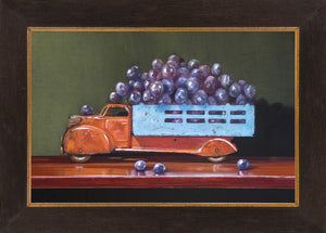 Vintage Red, grapes, truck, red wine, Richard Hall, framed canvas giclee print