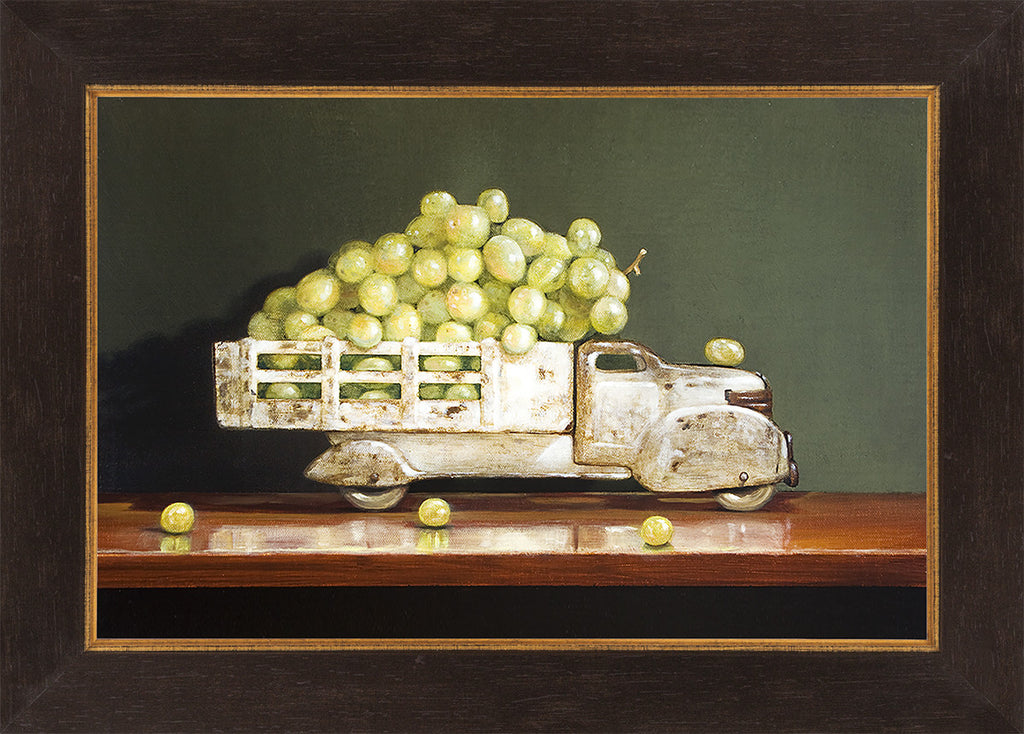 Vintage White, grapes, truck, white wine, Richard Hall, framed canvas giclee print