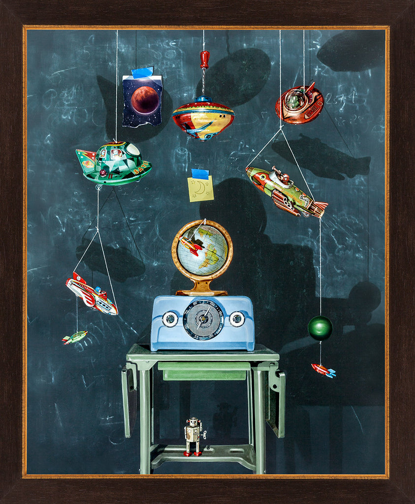 War of the Worlds, space toys, space art, radio, Richard Hall, framed canvas giclee print