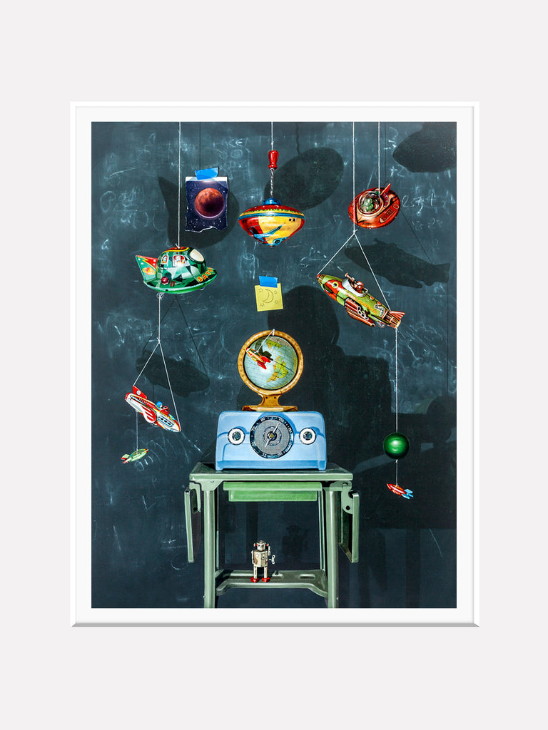 War of the Worlds, space toys, space art, radio, Richard Hall, matted print
