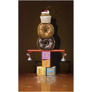 Well Balanced Diet, balanced donuts, blocks, Richard Hall, giclee print