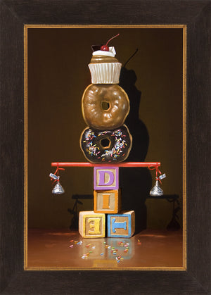 Well Balanced Diet, balanced donuts, blocks, Richard Hall, framed canvas giclee print