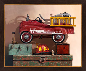 Where's the Fire, pedal car firetruck, helmet, nozzel, toolbox, framed canvas giclee print