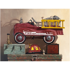 Where's the Fire, pedal car firetruck, helmet, nozzel, toolbox, canvas giclee print