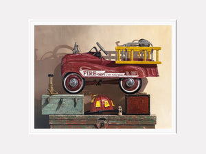 Where's the Fire, pedal car firetruck, helmet, nozzel, toolbox, matted  giclee print