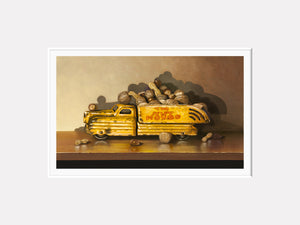Driving Me Nuts, toy truck, nuts, nut house, Richard Hall painting, visual pun, humor