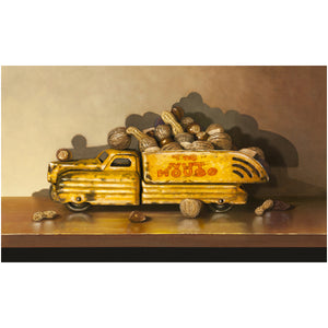 Driving Me Nuts, toy truck, nuts, nut house, Richard Hall, canvas giclee print, visual pun, humor