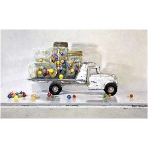 Losing my Marbles, white truck, jars full of marbles, Richard Hall, prints