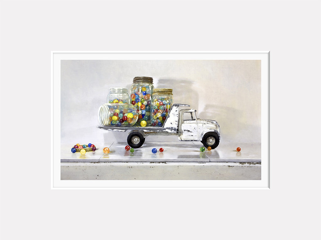 Losing my Marbles, white truck, jars full of marbles, Richard Hall matted print