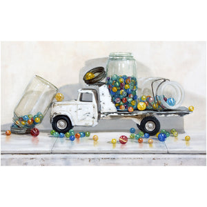 Lost my Marbles, white truck full of jars of marbles, Richard Hall, giclee print