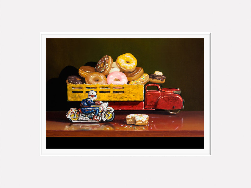 Stopped for Donuts, motorcycle cop stops donut truck, Richard Hall, matted giclee print