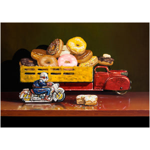 Stopped for Donuts, motorcycle cop stops donut truck, Richard Hall, giclee print
