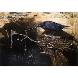 The Collector, Raven's collection, mythology, Richard Hall, giclee print