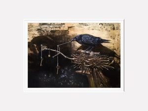 The Collector, Raven's collection, mythology, Richard Hall, matted giclee print