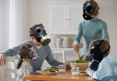 Family with gas masks image-Clean Air Plus
