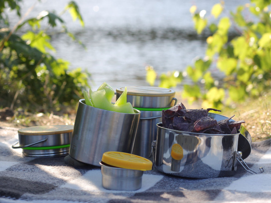 Stainless steel lunch containers with melon and tortilla chips on a picnic blanket at a lake.
